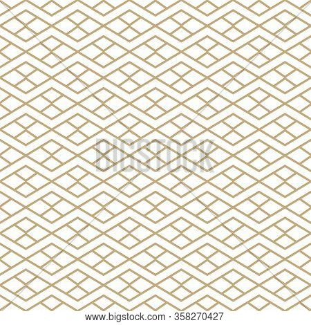 Simple Geometric Pattern With Golden Line Ornament. White And Gold Luxury Background. Abstract Seaml