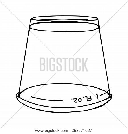 Transparent Plastic Measuring Cup To Measuring Mouthwash Liquid. Inverted Graduated Beaker. Vector I