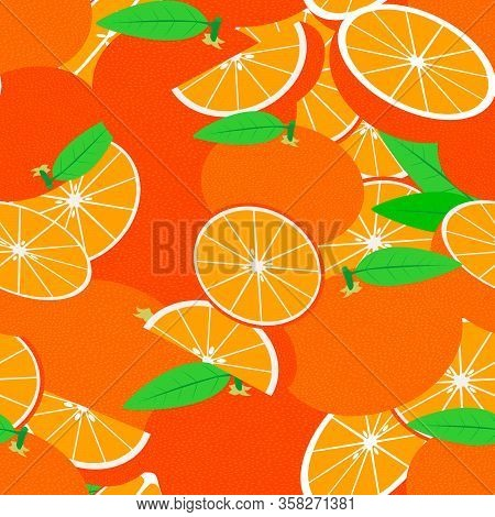 Tropical Seamless Pattern With Mandarins. Vector Fruit Background Or Wallpaper.