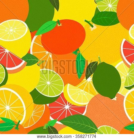 Tropical Seamless Pattern With Lemons, Limes, Oranges, Mandarins And Grapefruits . Vector Fruit Back