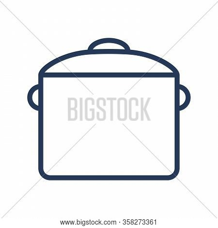 Pan Line Icon. Saucepan Outline Icon. Vector Illustration