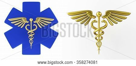 Caduceus Medical Symbol Isolated On A White Background. Caduceus Icon. Concept For Healthcare Medici