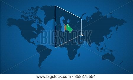 Detailed World Map With Pinned Enlarged Map Of Turkmenistan And Neighboring Countries. Turkmenistan