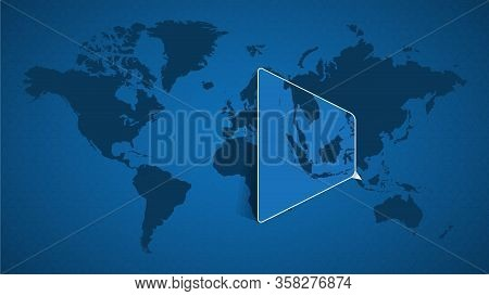 Detailed World Map With Pinned Enlarged Map Of Singapore And Neighboring Countries. Singapore Flag A
