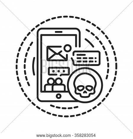 Gadget Addiction Black Line Icon. Abuse Of Gadgets So Much That It Starts Negatively Influencing Hea