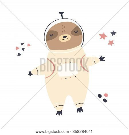 Cute Dreaming Astronaut Sloth In A Spacesuit