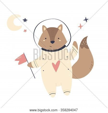 Happy Smiling Astronaut Fox In A Spacesuit