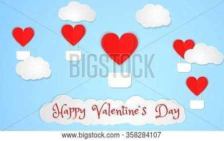 Valentines Of Paper Craft Design, Red Hearts And Clouds Are Holding By Sting On Top, Soft Blue Backg