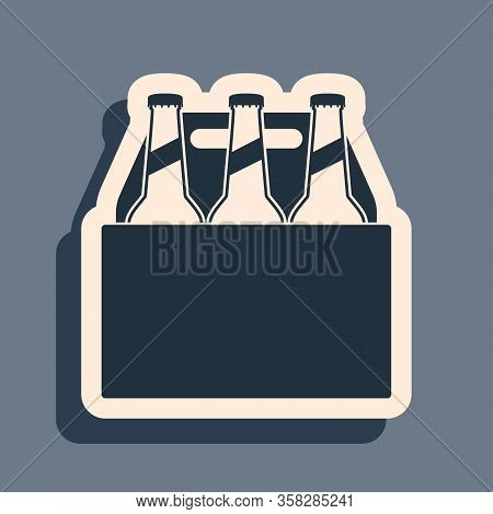 Black Pack Of Beer Bottles Icon Isolated On Grey Background. Case Crate Beer Box Sign. Long Shadow S