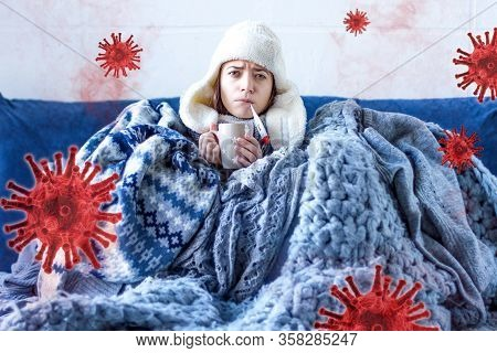Young Woman Is Feeling Bad And Sick Lying In Bed At Home. Girl Has Symptoms Of Acute Respiratory Vir