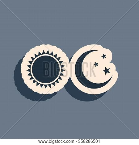 Black Sun And Moon Icon Isolated On Grey Background. Weather Daytime And Night. Long Shadow Style. V