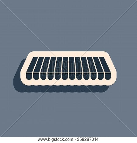 Black Striped Awning Icon Isolated On Grey Background. Outdoor Sunshade Sign. Awning Canopy For Shop