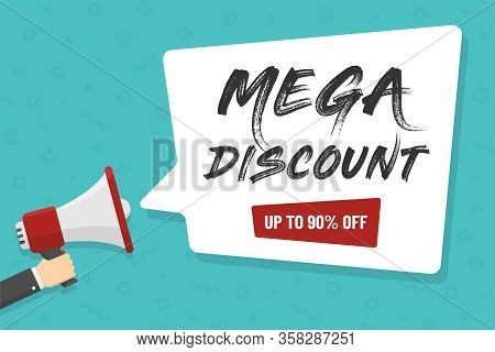 Red Megaphone In Hand With Mega Discount Lettering In White Dialog Speech Bubble Vector Illustration