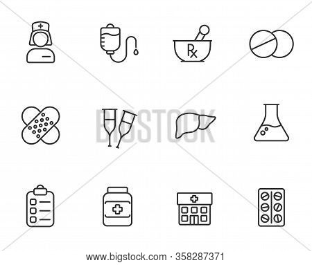 Healthcare Outline Flat Icons For Web, Mobile And Ui Design. Medicine And Healthcare Outline Vector