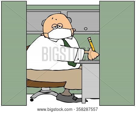 Illustration Of A Male Office Worker Sitting In His Cubicle And Wearing A Face Mask.