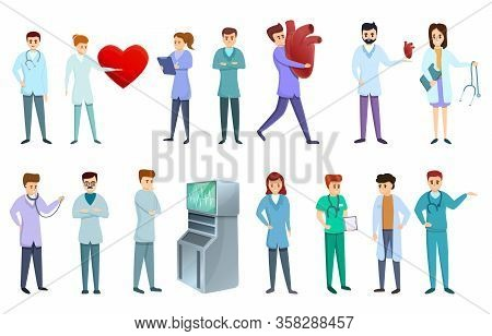 Cardiologist Icons Set. Cartoon Set Of Cardiologist Vector Icons For Web Design