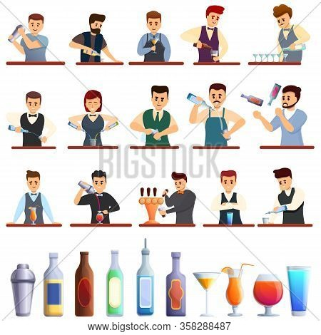 Bartender Icons Set. Cartoon Set Of Bartender Vector Icons For Web Design