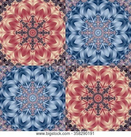 Two-tone Pattern With Petals And Square Ornament. You Can Use It For Invitations, Notebook Covers, P