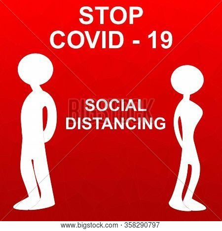 Social Distancing Concept People Standing Away To Prevent Covid 19. Coronavirus Disease Vector Illus