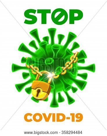 Covid-19. Coronavirus Disease Outbreak, Dangerous Sars Pandemic. Banner Design With Volumetric Virus