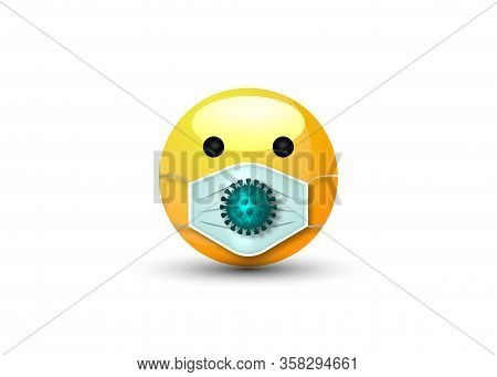 3d Cartoon Bubble Emoticon Face With Medical Mask For Chat Comment Reactions On Social Media, Cute E