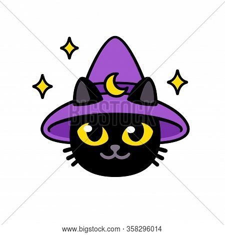 Cute Cartoon Magic Cat In Wizard Hat. Funny Black Kitty Character Head, Vector Clip Art Illustration