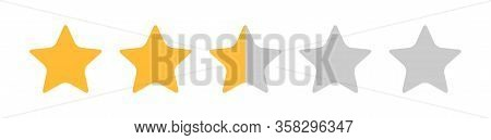 Two And Half Stars, Customer Quality Symbol, Vector Product Rating Review Flat Icon For Hotel, Resta