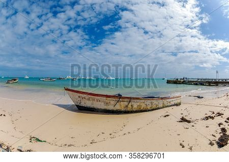Punta Cana, Dominican Republic - March 11, 2020: Beautiful Old Boat And Sand Beach In Punta Cana, Do
