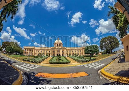 Santo Domingo, Dominican Republic - March 13, 2020: The National Palace, A Building That Houses The
