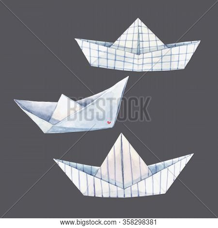 Beautiful Vector Set With Watercolor Paper Boats Illustrations.