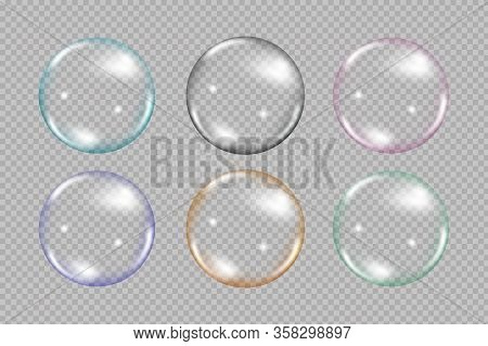 Flying Rainbow Transparent Soap Bubbles On Blue Background.reaistic Colored Balls.vector Texture.