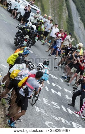 La Chambre , France - July 24, 2015: The Italian Cyclist Vincenzo Nibali Of Astanateam,climbing A Ro