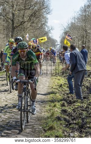 Wallers,france - April 12,2015: The French Cyclist Yannick Martinez Of  Europcar Team Riding In The