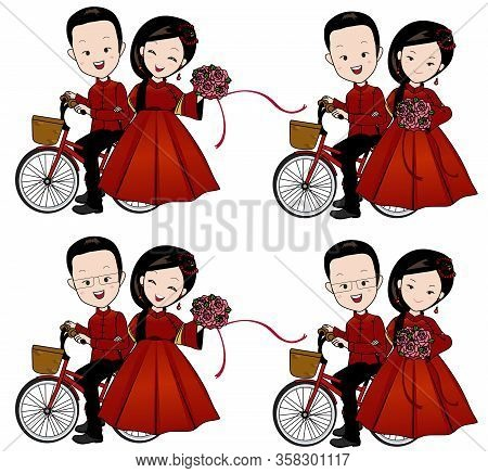 Chinese Wedding Cartoon; A Happy Couple Bride And Groom Riding Bicycle With Flower Bouquet In Qipao