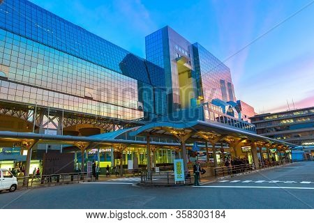 Kyoto, Japan - April 27, 2017: Entrance Of Kyoto Station From Karasuma Side, In Front Of Terminal Bu