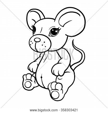 Cute Mouse Coloring Book, For Kids, Cut Plotter, Vector Illustration
