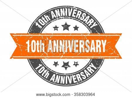 10th Anniversary Round Stamp With Orange Ribbon