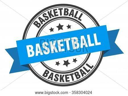 Basketball Label. Basketball Blue Round Band Sign