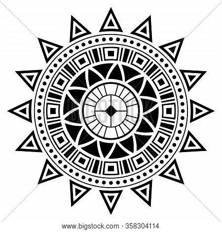 Abstract Circular Ornament. Ethnic Mandala. Stylized Sun Symbol. Rosette Of Geometric Elements. Trib