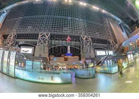 Kyoto, Japan - April 27, 2017: Kyoto Tower With Observation Deck View From Inside Of Kyoto Station C