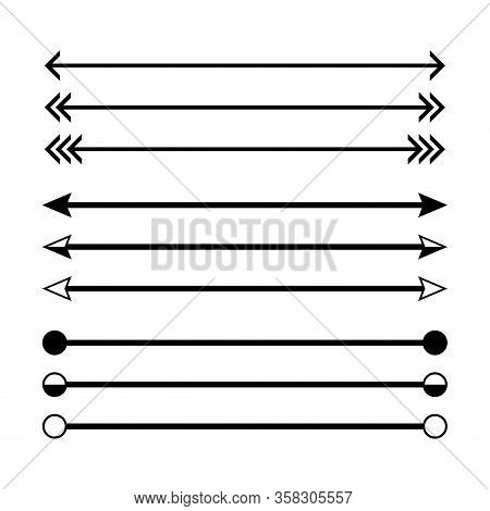 Arrow In Horizontal Line Set Isolated On White, Arrow Line For Indicate The Dimension Of Drawing, Ho