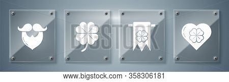 Set Heart With Four Leaf Clover, Four Leaf Clover And Party Pennant, Four Leaf Clover And Mustache A