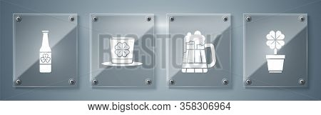 Set Four Leaf Clover In Pot, Wooden Beer Mug, Leprechaun Hat And Four Leaf Clover And Beer Bottle Wi