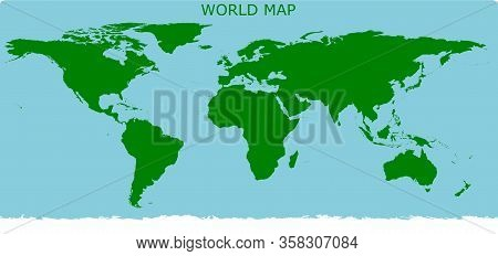 World Map Simple Stlye Only Green For Land And Blue For Ocean In Illustration Vector Format