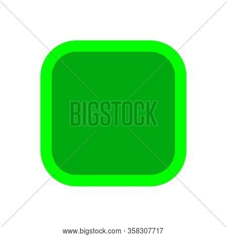 Button Square Shape Green For Buttons Games Play Isolated On White, Green Modern Buttons Square Simp