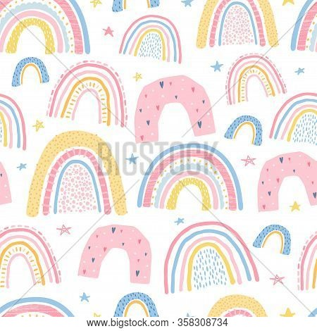Cute, Delicate Seamless Pattern With A Rainbow On A White Background In Pastel Color. Illustration F