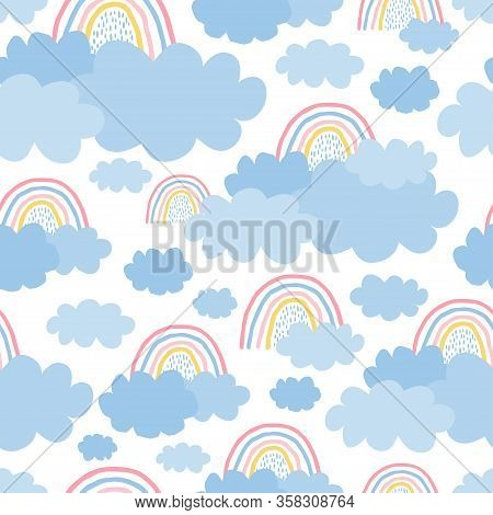 Cute, Delicate Seamless Pattern With A Rainbow, Clouds On A White Background In Pastel Color. Illust
