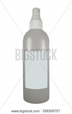 Bottle Of Antiseptic Isolated On White Background. Clipping Path Included.