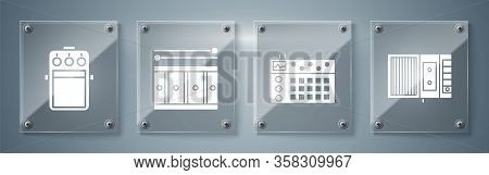 Set Music Tape Player, Drum Machine, Drum With Drum Sticks And Guitar Pedal. Square Glass Panels. Ve