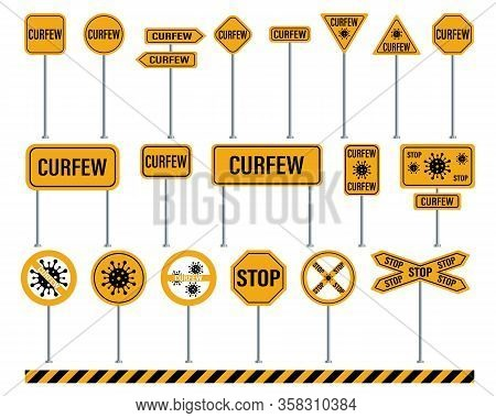 Curfew Warning Road Signs. Set Of Road Signs. Covid-19 Sign Isolated. Vector Illustration